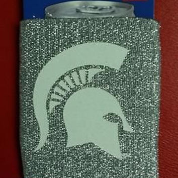 NCAA Michigan State Spartans Silver Glitter Neoprene Can Holder / Can Coozie