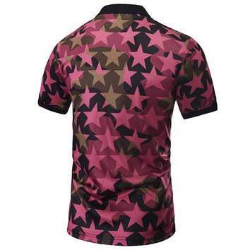 New Fashion Men Polo Shirts Full Print Pentagram Shirts 3d Summer Tops Polo Shirts