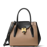 Michael Kors Bancroft Medium Two-Tone Tote Bag, Desert/Black