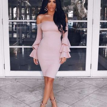 Dress Apricot Pink Long Sleeves Elegant Elasticity Tight Cocktail Party Bandage Dress (H2051)