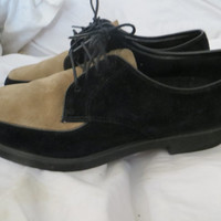 vINTAGE WOMENS 2 tone brown black suede leather laceup  Hush Puppies oxfords sz 9