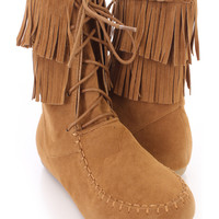 Tan Fringe Lace Up Ankle Boots Faux Suede
