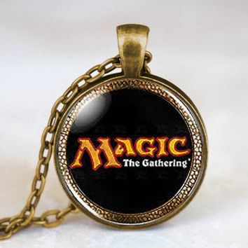 Magic the Gathering MtG Logo Cards Card Mens Handmade Fashion Necklace brass silver Pendant steampunk Jewelry Gift women chain