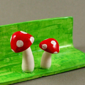 Hand Sculpted Business Card Holder - Little Mushrooms - Polymer Clay