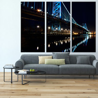 Philadelphia wall art, Ben franklin bridge skyline art Print, extra large wall art, canvas art for large wall,  modern wall decor t124