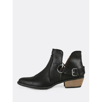 Split Shaft Buckled Low Heel Booties BLACK
