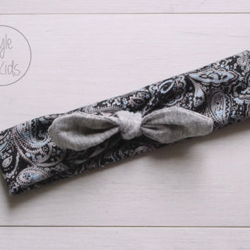 Paisley Top Knot Headband with Light Grey Bow Headband Knot Toddler Headband Head Wrap Baby Bow Headband Newborn Knot Headband