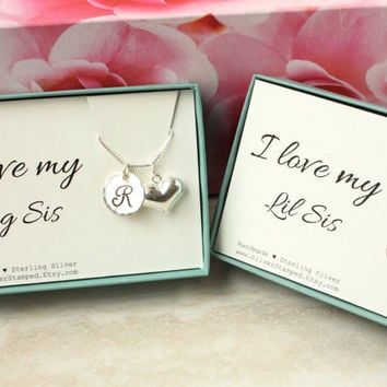 Big Sis or Lil Sis Gift for sister gift sterling silver initial necklace puffed heart charm sisters at heart in a gift box I love my Sister