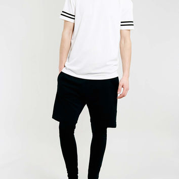 BLACK SHORT MEGGING 2 IN 1 JOGGERS - Topman