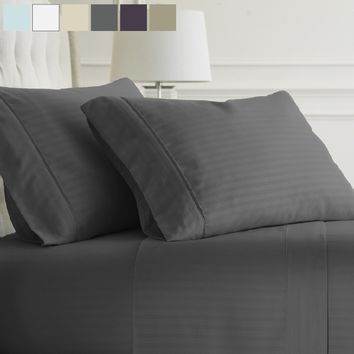 Becky Cameron Luxury Ultra Soft Striped 4 Piece Bed Sheet Set- Hypoallergenic - Wrinkle Free - Luxurious 4 Piece Bed Sheets Set
