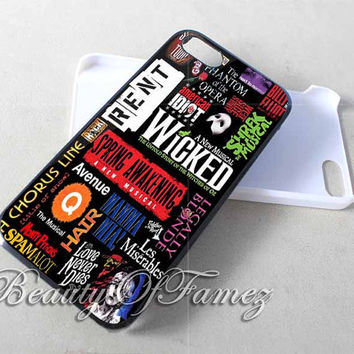 Broadway Musical Collage for iPhone 4, iPhone 4s, iPhone 5, iPhone 5s, iPhone 5c Samsung Galaxy S3, Samsung Galaxy S4 Case