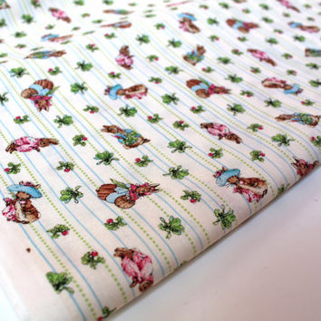Beatrix Potter Fabric / 1 Yard GARDEN TALES / Peter Rabbit Nursery / Cream Background / Peter Rabbit Fabric / Beatrice Potter Fabric