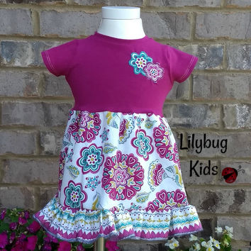 3 months floral dress, magenta knit top and cotton floral skirt, 2 appliqued flowers, short sleeves, flower dress with ruffle, teal, gift