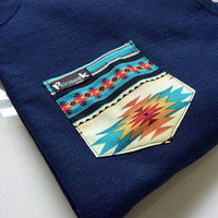Patchwork Apparel — Blue Aztec Pocket Crew Neck Unisex