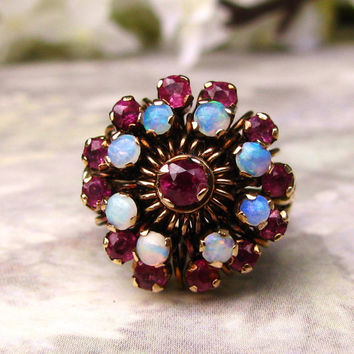 Big and Bold Vintage Opal and Ruby Engagement Ring 14K Gold Floral Princess Statement Ring!