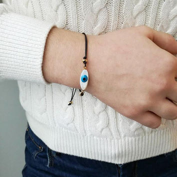 Blue eye bracelet, mother of pearl, oval blue eye on black cord, blue eye macrame bracelet, eye friendship bracelet, eye boho cuff