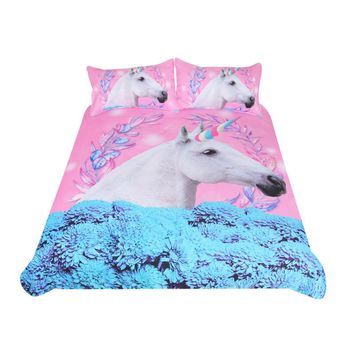 BeddingOutlet Unicorn Bedding Set Pink and Blue Duvet Cover Set Floral 3-Piece Bedspreads For Adult Kids Horse Bedclothes