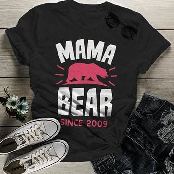 Women's Personalized Mama Bear T Shirt Mom Since Shirts Custom Graphic Tee Mother's Day