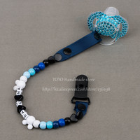 Personalised -Any name 2016 Hand made blue white beads dummy clip holder pacifier clips soother chain for baby