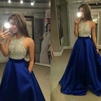 Dresstells Royal Blue Prom Dress With Pockets Crystal Halter Beads Sleeveless Sequin Backless Quinceanera Ball Gowns  Vestido