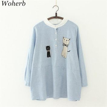 Woherb Japanese Fashion Women Blouse Cartoon Cat Appliques Striped Shirts Long Sleeve Patchwork Casual Cotton Blusas 41836