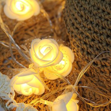 Warm White LED Lace Rose Lights, 19 Light, Battery-powered