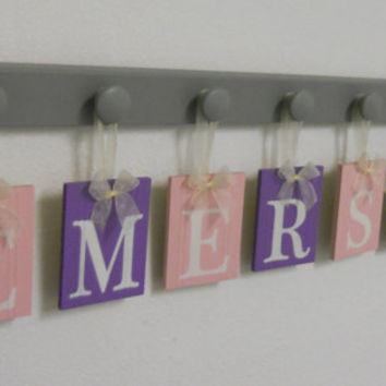 Purple Pink Decorations Baby Girl Room Set for EMERSON includes 7 Gray Wooden Pegs and Wall Letters  Light Pink, Lavender