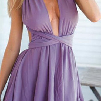 Purple Plunging Wrap Romper