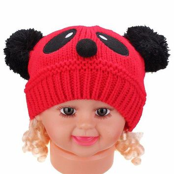 Baby Boys Girls Kid Cute Panda Soft Knit Crochet Hat Winter Warm Beanie Cap