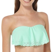 99 Degrees Ruffle Bandeau Bikini Top XLarge Mint green