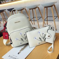 2017 New Women Backpack Small Size Fashion Backpacks for Teenage Girls PU Leather Women's Backpacks with Purses 3 Sets