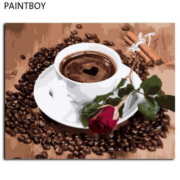 Frameless Canvas Painting By Numbers DIY Picture Oil Painting On Canvas For Home Decor Coffee And Rose GX8117 40*50cm