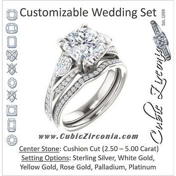 CZ Wedding Set, featuring The Jackie engagement ring (Customizable Cushion Center with Flanking Pear Accents and Pavé Band)