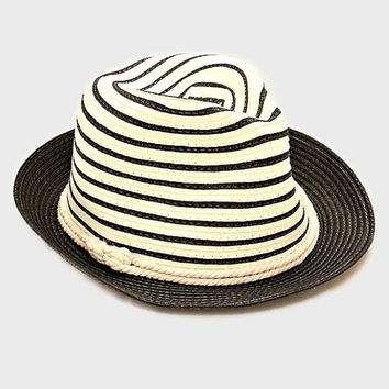 Womens Black Two Tone Straw Fedora Hat Nautical Rope Band Accent Beach, Pool, Vacation, Summer Hat