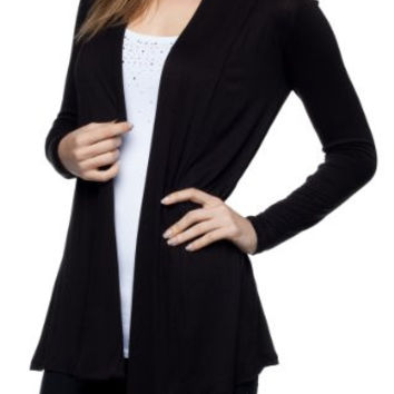 Women's Rayon Jersey Draped Open Front Cardigan