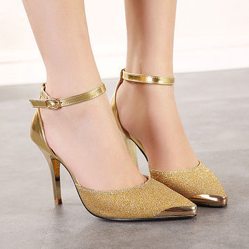 Classy Gold Tip Ankle Heels