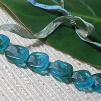 Handmade SQUARE Fused Glass Beads / Set of 6 /  Teal Aqua Blend / For Your Handcrafted Jewelry Designs