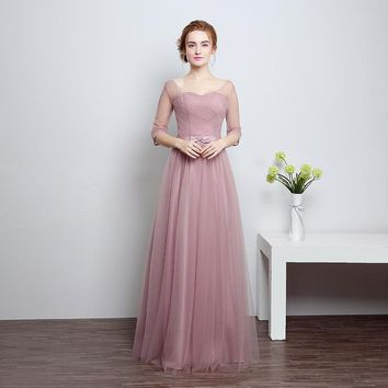 Bridesmaid dresses for Lady Tulle Bow Lace Up Floor Length Party Formal Dress