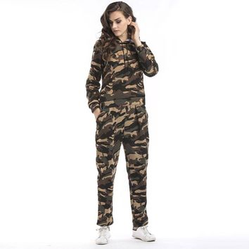 Women Two Piece Set Tracksuits Top and Pants Camouflage Military Hoodies Set Sweatshirt