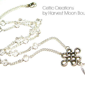 Viking Necklace, Celtic Knot Jewelry, Crystal Beaded Necklace, Norse Nordic Pagan, Unisex Jewelry, Silver Y-Necklace, Artisan Made Gift Idea