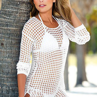White Handmade Crochet Cover Up with Side Slit