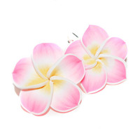 Pink Plumeria Leverback Earrings, Pink Hawaii Flower Earrings