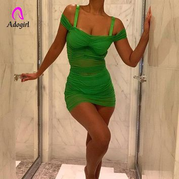 2019 Neon Green Sheer Mesh See Trough Short Sleeve Mini Bodycon Dress Sexy Night Club Party Dress Elegant Black Folds Vestidos