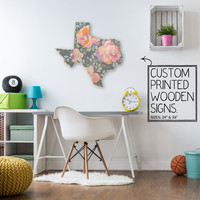 Texas State Gray Floral Print Custom Wood Sign Unique Trendy Dorm Room