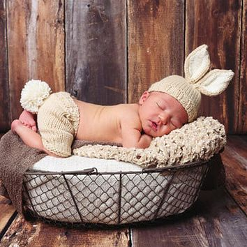 Newborn Baby Rabbit Crochet Knit Costume Outfits Photo Photography Props