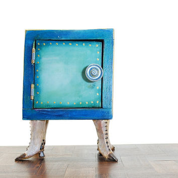 Kitsch teal wooden box - storage wooden box - teal blue and purple box - weird box with legs - box with witch boots