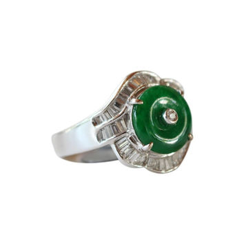 Fine Size 7.25 Round Imperial Jade Ring with 0.615ct Diamonds 18K Gold Band