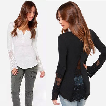 Women Sexy Lace Splicing Knit Long Sleeve V-Neck Mesh Split T-Shirt = 1958039492