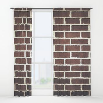 red brick Window Curtains by Jessica Ivy