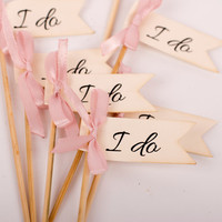 I do Wedding Cupcake Toppers, Bridal Shower Party Decoration, I do Wedding Toppers with Rose Ashes ribbon, Set of 12